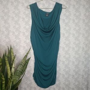 Torrid teal bodycon runched cowl neck dress size 2